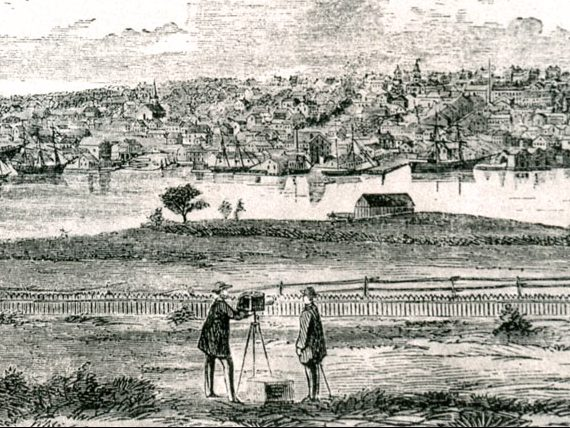 19th century Belfast harbor view illustration